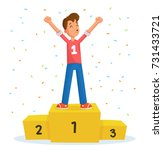 champion on winner podium and... | Shutterstock .eps vector #731433721