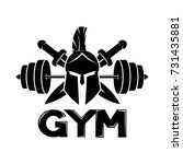 gym sign with spartan helmet. | Shutterstock .eps vector #731435881