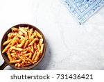 penne pasta with tomatoes ...   Shutterstock . vector #731436421