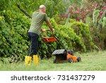 gardening and cutting the grass ... | Shutterstock . vector #731437279
