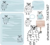 Notepaper With Cute Furry...