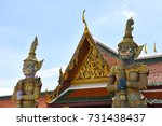 giant demon guardian statue at... | Shutterstock . vector #731438437