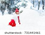 children build snowman. kids... | Shutterstock . vector #731441461