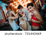 group of friends having great... | Shutterstock . vector #731442469