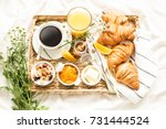 continental breakfast on white... | Shutterstock . vector #731444524