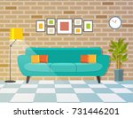 living room with sofa and lamp. ... | Shutterstock .eps vector #731446201