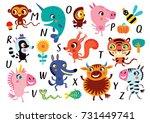 vector alphabet with cute... | Shutterstock .eps vector #731449741