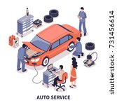 auto service center workers... | Shutterstock .eps vector #731456614