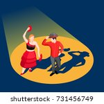 people in bright costumes... | Shutterstock .eps vector #731456749