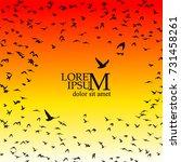 flock of flying birds. vector | Shutterstock .eps vector #731458261