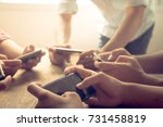 close up hand using mobile...   Shutterstock . vector #731458819