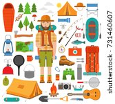 set of hike and camp equipment... | Shutterstock .eps vector #731460607