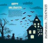 happy halloween night...   Shutterstock .eps vector #731474155