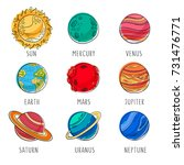 cute solar system character....   Shutterstock . vector #731476771