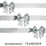 silver ribbon bow with... | Shutterstock . vector #731485399