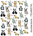cute animals doodles pattern ... | Shutterstock .eps vector #731485741