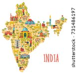 india map. travel and tourism... | Shutterstock .eps vector #731486197