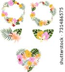 tropical graphic set  wreath ... | Shutterstock .eps vector #731486575