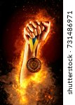 man's hand in a fire is holding ... | Shutterstock . vector #731486971