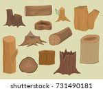 stacked wood pine timber for... | Shutterstock .eps vector #731490181