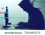 hooded computer hacker working... | Shutterstock . vector #731491171