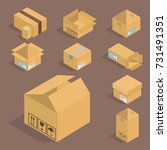 different box vector isometric... | Shutterstock .eps vector #731491351