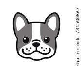 Stock vector cute cartoon french bulldog face drawing adorable little dog portrait simple vector illustration 731500867