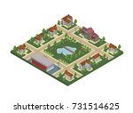 isometric map of small town or... | Shutterstock . vector #731514625