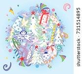 hand drawn doodle winter... | Shutterstock .eps vector #731514895
