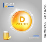 vitamin d  yellow capsule.... | Shutterstock .eps vector #731516401