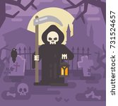 grim reaper with a scythe and a ... | Shutterstock .eps vector #731524657