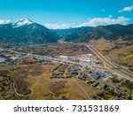 aerial view to mountains and... | Shutterstock . vector #731531869