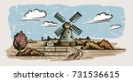 windmill  village houses and... | Shutterstock .eps vector #731536615