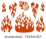 red fire  old school flame... | Shutterstock .eps vector #731541337