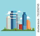 vector flat cartoon cityscape... | Shutterstock .eps vector #731550745