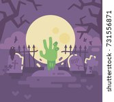 zombie hand coming out of grave.... | Shutterstock .eps vector #731556871