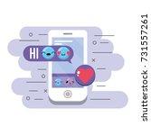 smartphone with message emoji... | Shutterstock .eps vector #731557261