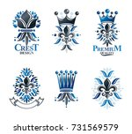 royal symbols lily flowers ... | Shutterstock .eps vector #731569579