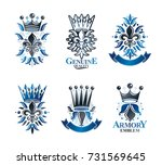royal symbols lily flowers ... | Shutterstock .eps vector #731569645