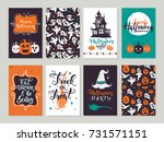 vector halloween greeting card  ... | Shutterstock .eps vector #731571151