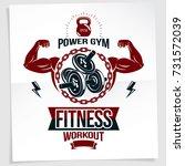 gym advertising poster. vector... | Shutterstock .eps vector #731572039