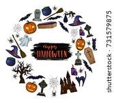 set of halloween icons for... | Shutterstock .eps vector #731579875