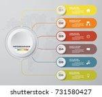 modern 6 options presentation... | Shutterstock .eps vector #731580427