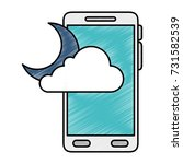 smartphone with moon and cloud...
