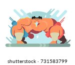 fight of sumoists athletes.... | Shutterstock .eps vector #731583799