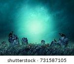 spooky cemetery and dark gloomy ... | Shutterstock . vector #731587105