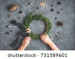 christmas composition. child... | Shutterstock . vector #731589601