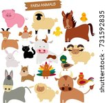 vector drawing of farm animals | Shutterstock .eps vector #731592835