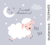 sweet dreams sheep vector... | Shutterstock .eps vector #731594455