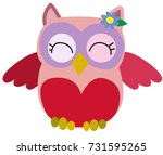 nice pink smiling owl with a... | Shutterstock .eps vector #731595265